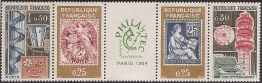 Timbres de France - 1964 - Yvert et Tellier n°1414-15-16-17 - Exposition 'Philatec' - Quatriptyque de l'exposition 'Philatec'
